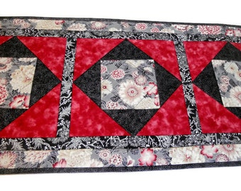 Elegant Quilted Table Runner Floral with Metallic Highlights , Quilted Table Topper, Floral Table Quilt, Asian Inspired Fabrics