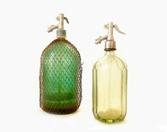Vintage Green Seltzer Bottles ... Retro Siphon Glass, Soda Bottles, Industrial Barware, Home Decor, Mesh Cover Soda Bottle, Rustic Urban