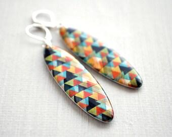 Geometric resin earrings -  triangle print dangle earrings, yellow green geometric earrings, summer geometric resin jewelry - ready to ship