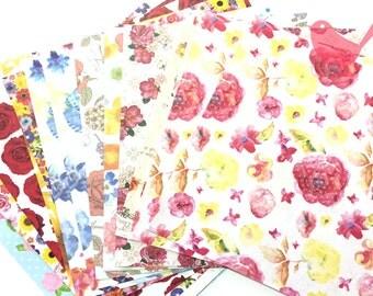 Scrap Pack - Japanese rice and origami paper ephemera, paper scraps flora print