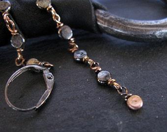 Rose Gold Black Dot Earrings Beaded Dangle Earrings Pebble Earrings Black Gold Earrings OOAK Gift Modern Artisan Earrings Handmade Boho