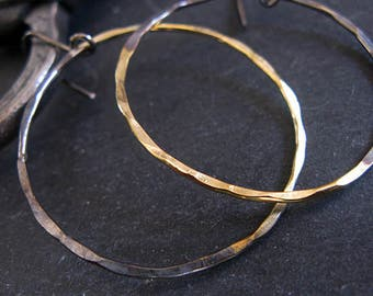 Large Hoop Earring Sterling Silver Hammered Hoop Earrings Black Gold Hoop Earrings Black Hoop Earring Boho Earring Silver Hoop Earring