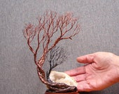 Wire tree sculpture 9 inch, Soul Mate Family Trio Spirits, Morocco Quartz Crystal Geode, wood base, unique handmade wedding gift, art