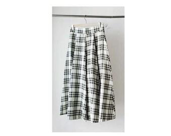 1980's Off White Plaid High Waist Midi Skirt
