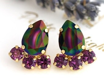 Rainbow Earrings, Purple Earrings, Gift for her, Swarovski Stud Earrings, Bridesmaids Earrings, Rainbow Crystal Studs, Dark Purple Earrings