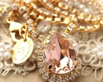 Blush Necklace, Blush Bridal Necklace, Swarovski Bridal Blush Necklace,Vintage Pink Statement Earrings, Wedding French Pink Necklace