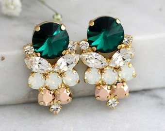 Emerald Earrings, Emerald Green Swarovski Earrings, Bridal Emerald Earrings, Gift For Her, Bridal Dark Green Earrings, Green Bridal Studs