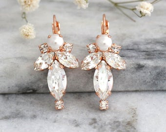 Bridal Earrings, Bridal Crystal Earrings, Pearl Earrings, Swarovski Earrings, Bridal Drop Earrings, Bridesmaid Earrings, Bridal Droplets.