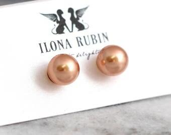 Pearl Earrings, Gold Pearl Earrings, Bridal Pearl Earrings, Rose Gold Earrings, Bridesmaids Earrings, Gold Filled Studs, Pearl Stud Earrings