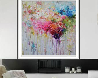 Extra Large Painting,48 XL Colorful Abstract Painting / Modern Art / Contemporary Art/ColorfulAbstract/pink/blue/green