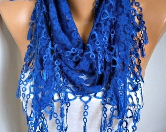 Royal Blue Lace Scarf -Shawl  scarf - Hanukkah Gift, Cowl Scarf  - Bridesmaid gift, Gift for her,Wedding scarf, Women's Fashion Accessories