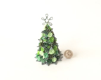 Dollhouse Christmas tree with green roses and baubles for half scale dollhouse handmade from polymer clay