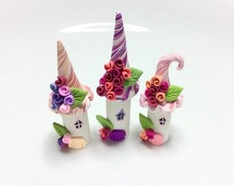 Miniature fairy houses, fairy house set, polymer clay houses, terrarium fairy set, miniature village