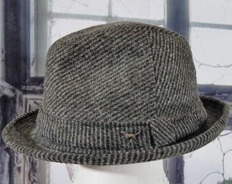 Vintage Black and White Tweed Fedora, Wool Tweed Hat, Men's Winter Hat