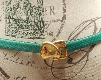 Vintage Snake Skin Leather Belt By R.O.C Size M/L Teal Dress Belt Brass Hook Clasp Dead Stock