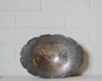 Oval Dish, Silver Oval Bowl, Pilgrim Oval Bowl, Oval Silver Plate, Hotel Silver, Wedding Silver, Wedding Decor, Engraved Silver Bowl