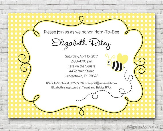 Mom to Bee Baby Shower Invitation - Printable or Printed (w/ FREE Envelopes)