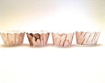 12 Scalloped Rustic Faux Birch Bark Wood Grain  Cupcake Wrappers