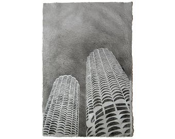 Marina Towers on Abaca / Cotton No.4: pulp painting on handmade paper (2016) (Item no. 230.04)