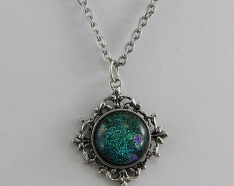 Handmade Green Dichroic Glass on Silver Plated Brass Vintage Looking Necklace 22 inch Chain Magnetic catch