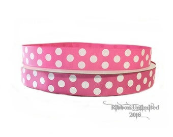 10 Yds WHOLESALE 7/8 Inch Hot Pink Jumbo Polka Dot grosgrain ribbon LOW SHIPPING Cost