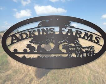 Farmland Hay Bailer With Cattle Farm Sign LMW-16-28