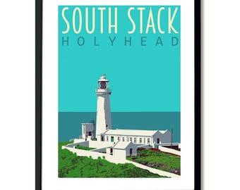 South Stack Light House Holyhead Travel Poster Art Print