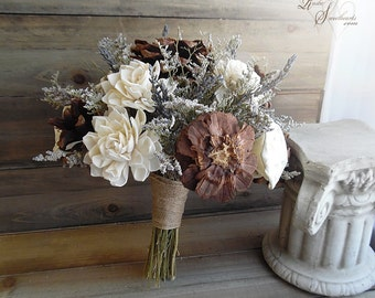 """Ready to Ship ~~~ Large Rustic Bridal Sola Flower and Pine Cone Bouquet, 9.5"""" wide with jute wrapped stem handle."""