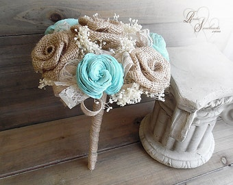 Ships in 4 weeks ~~~ Rustic Bridesmaid Bouquet with Burlap Roses and Tiffany Sola Flowers. Can be customized to your color scheme.