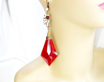 Czech Glass Red Earrings Art Nouveau Boho Red Crystal Glass Rhinestone Magnificent