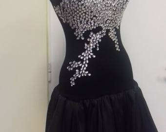 Black stylish gown with crystals
