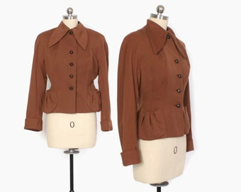 Vintage 40s BLAZER / 1940s Milk Chocolate Brown Wool Gab Tailored & Fitted JACKET XS