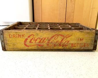 Vintage 1950s Yellow Coca Cola Crate, Coke Box, Wooden Soda Crate, 1950s Advertising, Drink Coca Cola in Bottles