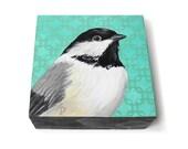 Chickadee painting art block - songbird painting with modern pattern in aqua green - chickadee art original