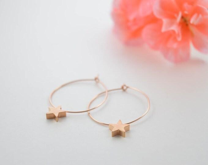 Tiny Star Hoop Earrings