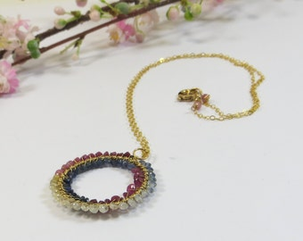 Ruby & Sapphire Necklace w 14kt GoldFill, Handmade Gemstone Circle Infinity Necklace, Precious Gems Ruby Sapphire 14kt GF Wirewrap Necklace