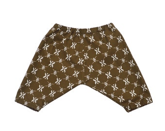 Baby Toddler Boys Girls harem sarouel pants, olive brown shorts trousers, white cross print, knee length 12-18-24 months 2T 3T 4T 5 6