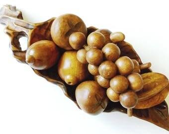 8 Carved Wood Fruit in Wooden Leaf Shape Bowl, Vintage