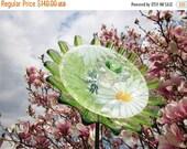 Yard And Garden Art, Outdoor Decoration, Glass Garden Flower, Dragonfly Daisy Garden Decoration, Colorful Gardener Gift Idea By Jarmfarm