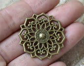 4 pcs Antique bronze flower Filigree Jewelry Connectors Setting,Connector Finding,Filigree Findings,Flower Filigree