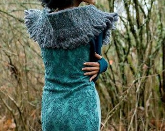 Salish raglan-tee long-sleeve dress with reversible lace overlay, thumb-holes and wool fringe hem