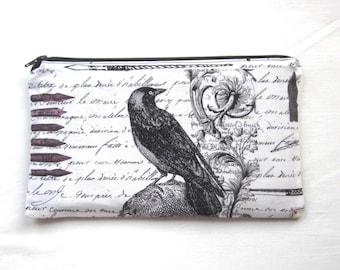 Raven Fabric Zipper Pouch / Pencil Case / Make Up Bag / Gadget Pouch