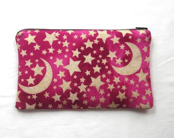 Gold Moons and Stars on Bright Pink Fabric Zipper Pouch / Pencil Case / Make Up Bag / Gadget Sack