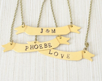 Personalized Necklace, Gold Banner Pendant, Brass Hand Stamped Necklace, Monogram Jewelry