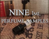 NINE Perfume Samples / 1ml Perfume / Choose your Scents / Vegan perfume oil samples