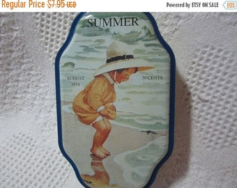 EASTER SALE Vintage Summer Good Housekeeping Tin Container with 1918 Advertising Collectible Yellow Blue