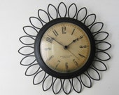 "Starburst Wall Clock - Westclox Electric - 11"" Black Sunburst / Flower  - Mid Century Home Decor -  Frill Model S8-G"