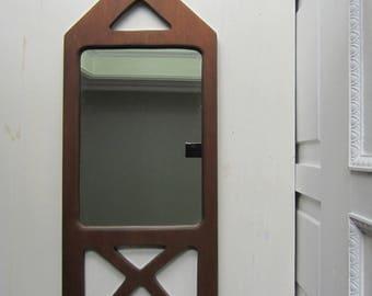 "Mid Century Wall Mirror - Geometric Wood Frame - Mid Century Modern Home Decor 11"" x 27 1/2"""