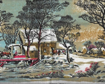 Vintage 1970's Linen Calendar Towel - 1975 - Winter In The Country