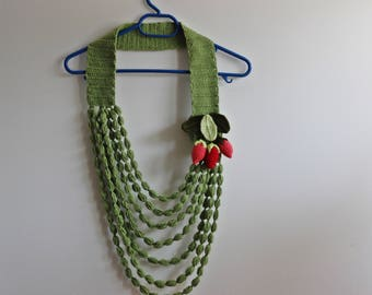 Strawberry Necklace- Green Crochet Necklace -  Jewelry Scarf-Handmade Loop Scarf -Cotton Spring Necklace with Strawberry pin